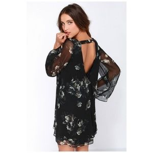 CHASER Garden Gala Black Floral Silk Dress Size XS